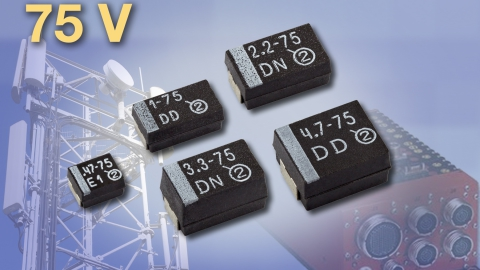 Vishay – New 75 V TR3 and 293D TANTAMOUNT Solid Tantalum Chip Capacitors