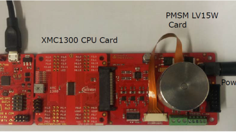 Infineon MCU Board with XMC1300 and Segger J-Link Debug Interface and On-Board 3-Phase Motor with Hall Sensors