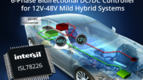 Intersil – ISL78226 – First 6-Phase Bidirectional DC/DC Controller for Automotive 12V-48V Power Supply Systems